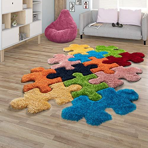 TT Home Hochflor-Teppich, Shaggy Mit Puzzle-Design, Cut-Out-Teppich, 3-D-Effekt, In Bunt, Größe:140x200 cm