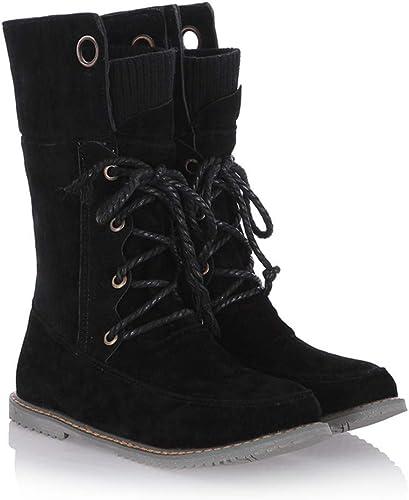 Stiefel de damen   schuhe de damen Casuales   Stiefel de Cordones de Gran tamaño Planas y cómodas de Invierno
