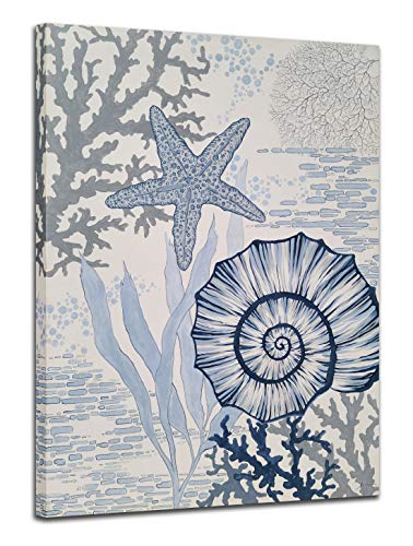 Yihui Arts Costal Canvas Wall Art Hand Painted Sea Shell Star Fish Paintings Blue and White Pictures for Living Room Bedroom Bathroom Decor