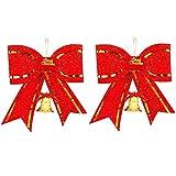 Amacoam Fiocchi Rossi Albero di Natale Fiocco Rosso Grande di Natale Glitter Decorazioni di Natale con Campana Plastica Fiocchi Albero di Natale per Decoration Albero di Natale 28 * 26 cm 2 Pezzi