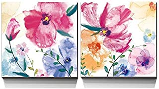 3Hdeko - Pink Abstract Flower Pictures Wall Art Purple Watercolor Poppies Floral Painting for Bathroom Girl Bedroom Living Room Home Decoration, 2 Pieces Canvas Prints, Ready to Hang (12x12inchx2pcs)