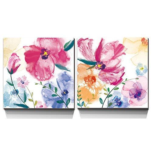 3Hdeko - Bathroom Wall Decor Pink Purple Yellow Flower Canvas Art Colorful Abstract Floral Painting for Bedroom Living Room, 2 Piece Watercolor Poppy Picture Prints, Framed, 12x12inchx2pcs