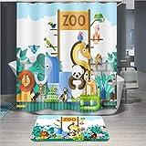 Baisheng Duschvorhang, wasserdicht, schimmelresistent, waschbarer Badvorhang, Stoff, 3D-schimmelresistent, Vorhang (bunter Zoo, Kinder-Cartoon-Druck, 100 x 180 cm)