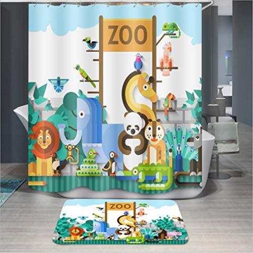 Baisheng Duschvorhang, wasserdicht, schimmelresistent, waschbar, 3D-Vorhang, schimmelresistent, Colorful Zoo Children's Cartoon Print, 47 * 78Inch/120 * 200cm