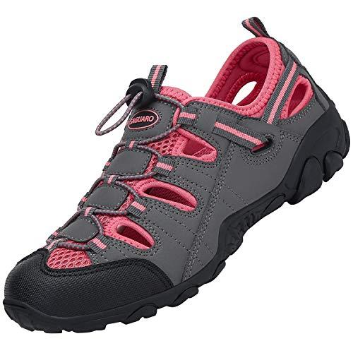 SAGUARO Sandalia Deportiva Ajuste Piso para Hombre Mujer Sandalias de Senderismo Zapatos de Montaña Antideslizante Verano, Dark Grau 38