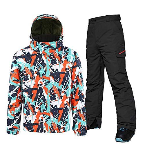BNJDBNJD Outdoor-Skianzug Skianzug Herren Skijackhose, Snowboard-Sets Wasserdichter Mountain-Skianzug Winter-Outdoor-Sportbekleidung für Männer, Farbe 2, XL