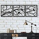 Arte de pared de metal, pájaros sobre rama 3 piezas, árbol de metal arte de pared, árbol de arte,