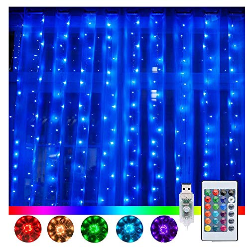 Ollny Curtain Fairy Lights,16 Colour Changing Curtain Lights 240 Led Curtain String Lights Waterproof Hanging Wall Lights 3m x 3m with 4 Modes & Remote for Indoor Bedroom Christmas Wedding Decorations