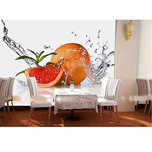 3D Papel Wandbilder Wassertropfenfrucht Orange 3D Wallpaper für Küche Zimmer Foto Wandbild Esszimmer 3D Wandbilder Wanddekoration fototapete 3d Tapete effekt Vlies wandbild Schlafzimmer-300cm×210cm