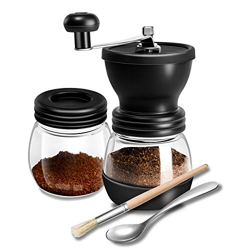 Manual Coffee Grinder with Adjustable Conical Ceramic Burr | Best Portable Hand Coffee Mill for Travel, Camping, Aeropress Compatible | Stainless Steel Body and Hand Crank -