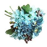 Sayla Flores Artificiales Bayas Artificiales para Decoración de Navidad y Arreglo Floral Dalias para Banquete de Boda Fiesta casa Ramo de Novia Rosado (Azul)