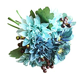 Naiflowers Artificial Silk Flower Bridal Bouquets, 1 Bouquet Fake Dahlia Floral Arrangements DIY Real Looking Silk Flower with Plastic Stem for Home Wedding Party Decoration