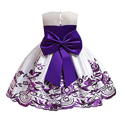 IMEKIS Kinder Mädchen Blumen Party Kleid Ärmelloses Blumenstickerei Bowknot Tutu Prinzessin Hochzeits Geburtstag Abendkleid Festzug Ballkleid Lila 5-6 Jahre