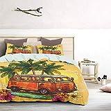 UNOSEKS LANZON - Juego de colcha Hippie Classic Old Bus con tabla de surf Freedom Holiday Exotic Life Sketchy Art Soft Funda de ropa de cama de lujo, ligero, amarillo, naranja, verde, tamaño King