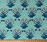 Fleece Minions Despicable Me Characters Bob Wave Blue Cream Fleece Fabric Print by The Yard (A337.13)