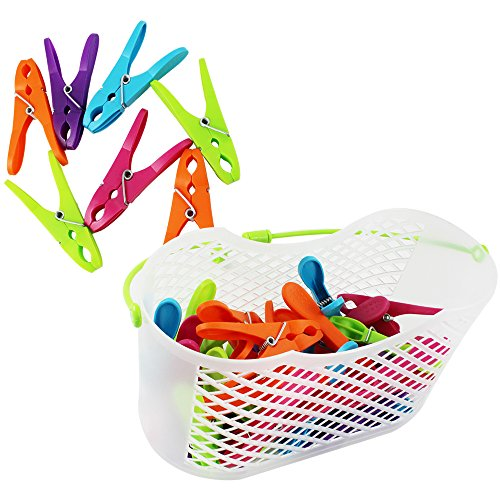 COM-FOUR® 30x Mollette in pratico cestino con manico (Set 0031 pezzi 1 - cesto + staffe)