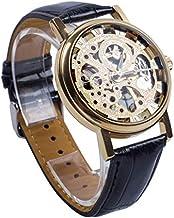 Relógio Mecânico a Corda de Pulso Engrenagens Cor Ouro + Relógio Led - 4cm