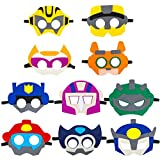BeYumi 10Pcs Rescue Robots Felt Masks Set, Bots Party Supplies Gift Rescue Robots Party Favor Birthday Cosplay Dress up Costumes for Kids Boys