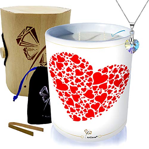 Vela con joya plata adornada con cristales Swarovski • Vela 2 mechas perfumada Manzanas de Amor (caramelizadas) • Caja regalo sorpresa colgante corazón pequeño