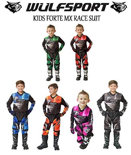 WULFSPORT Attack Motorbike Kids Race Suit New 2017 Motocross Quad Enduro ATV MX Pit Sport Junior Pant Shirt Kit - Orange - 8-10 Years