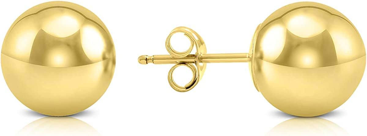9MM 14K Yellow Gold Filled Round Ball Earrings
