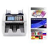 Aibecy Moneda en efectivo Billete de banco Cuenta en efectivo Contador automático Contador LCD Pantalla con UV MG IR Detección de valor de mezcla de valor del detector falsificado por euro EE.