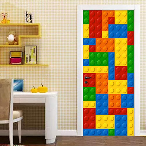 PVC Self-Adhesive Waterproof 3D Stereo Lego Bricks Door Sticker Kids Bedroom Living Room Home Decor Decal Eco-Friendly Wallpaper