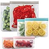Gorilla Grip Original Premium Reusable Food Storage Bags, 6 Pack, Leakproof Secure Zip Freezer Safe, PEVA Storage Baggies, Includes 2x Each: Snack, Sandwich, Gallon Sized Bag, Modern Colors Set