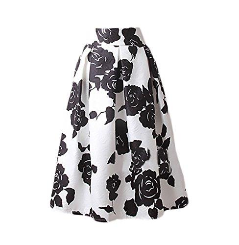 Faldas Mujer Elegantes Moda Estampado Flores Jacquard Falda Plisada Años 50 A-Line Swing Vintage Falda Medium Largos Faldas Midi Ropa En Oferta