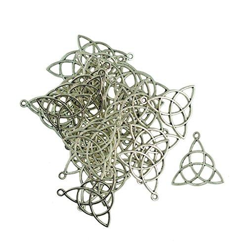 Jili Online 30 Pieces Antique Silver 30 x 29mm Zinc Alloy Celtic Knot Triquetra Charm Pendants Jewelry
