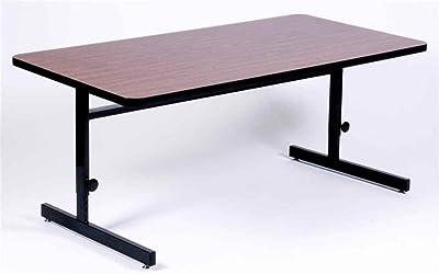 "Correll 24""x48"" Rectangular Adjustable Height Training Table, Computer Work Station Desk Cherry HP Laminate Top, Heavy Duty Steel Frame"