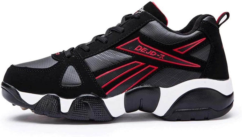 ZHRUI Men Women Running shoes Outdoor Sport Jogging Walking Footwear Trainers Sneakers (color   Black red, Size   11.5=47 EU)