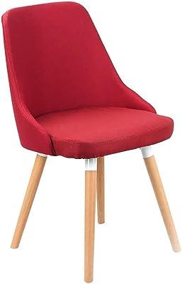 Erosy リビングルーム生地ダイニングチェア、モダンでスタイリッシュなレジャー布張りの椅子、木製の椅子、ミディアムバックサポート多色椅子 (色 : H h)
