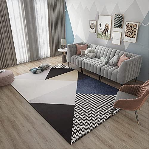 AU-SHTANG Alfombra niños Foam Cómoda Alfombra de sofá de Yoga fácil de Mantener, patrón de triángulo Azul alfombras Pelo Corto Salon -Azul_100x200cm