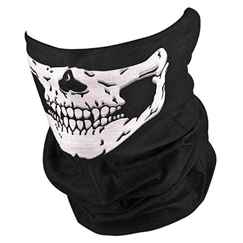 Brave Pioneer Halloween Skelett Masken Schwarz Motorrad Sturmhaube Schädel Sport Gesichtmaske Schal Hals Headwear Hut Ghost Karneval Party (schwarz)