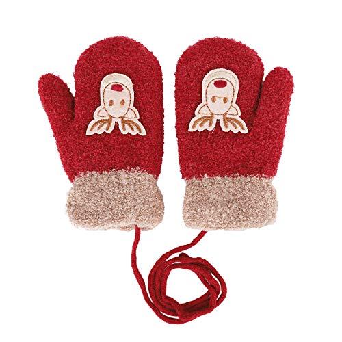 Baby Fäustlinge Cartoon Handschuhe Fingerlos Fausthandschuhe Kleinkind Warm Handschuhe Plüschfutter Thermohandschuhe mit Schnur Outdoor Schnee Handschuhe für 1-6 Jahre Alt