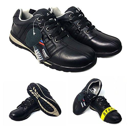 Starex Gorra de acero inoxidable con tobillo para zapatos, zapatillas de deporte, para hombre, talla de HIKER, negro, UK 7/EUR 41
