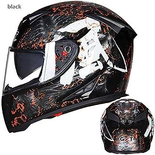 XuBa Men Full-Face Coverage Motorcycle Helmets Flip-up Dual Lenses Antifogging Motorbike Riding Helmet Bright Black/Wind XXL