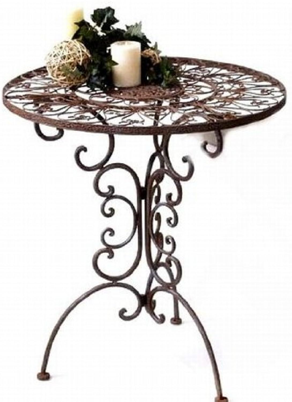 Nostalgischer Tisch rund Tecla Metall Gartentisch Durchmesser 70 cm