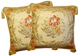 Aubusson Style 2 Cushion/pillow Cover 18' Embroidered with Intricate Golden Threads 10A
