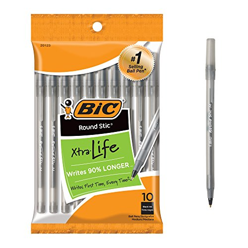 10 Pack Of BIC Round Stic Xtra Life Black Ballpoint Pens For $0.74 From Amazon