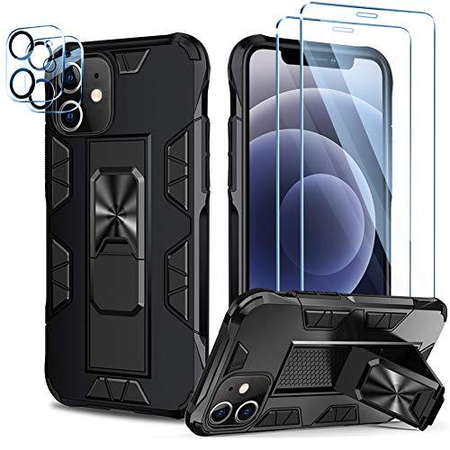 AROYI Funda Compatible con iPhone 12 con 2 Pack Cristal Templado y 2 Pack Lente de cámara con Soporte Incoporado Carcasa Armor Case Doble Antigolpes rígida PC Silicona TPU Bumper