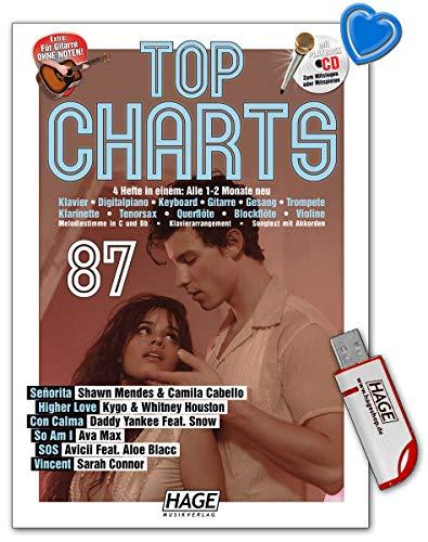Top Charts 87 - die aktuellsten Hits der erfolgreichsten Stars und das Beste aus den Charts - Songbook mit CD, Midifiles auf USB-Stick, Notenklammer - Hage EH3984U 4026929924704