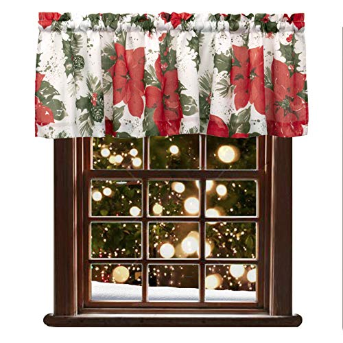 VORTTA Christmas Valance Curtains for Kitchen Water Repellent Valance with Red Flower Print for Holiday Decoration, 60 x 16 inch