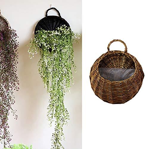 Lembeauty handgefertigter Weidenkorbgeflecht-Blumenkorb, Pflanzentopf für die Wand für Haus, Hochzeit, Party, Dekoration