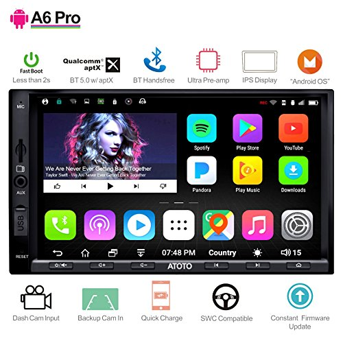 [NEW]ATOTO A6 Pro A6Y2721PRB 2DIN Android Car Navigation Stereo - Dual Bluetooth with aptX - Fast Phone Charge/Ultra Preamplifier - In dash Entertainment Multimedia Radio,WiFi,support 256G SD &more