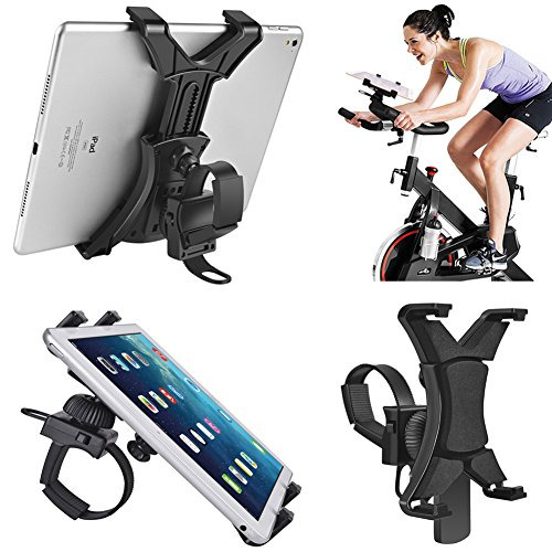 Tablet Holder for Spinning Bike,Universal iPad Mount for Indoor Gym Equipment Treadmill Exercise Bike,Adjustable 360° Swivel Bracket Stand for 7-12' Tablets and iPads