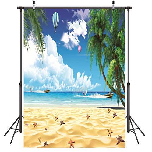 Foto Achtergrond Vouwen Strand, kokosnoot boom, hete lucht ballon Foto Achtergrond Doek 3D Vinyl Wall Props voor Afstuderen bruiloft, 1.5X2.1M