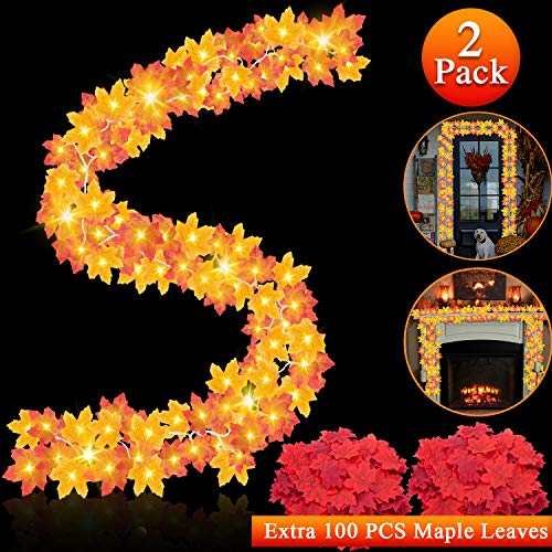 Chiachi 2 Pack Thanksgiving Decorations Fall Garland Maple Leaves String Lights,33 Ft 100 LED Fall Garland Lighted for Holiday Autumn Garland Home Party Fireplace Harvest Indoor Outdoor Decor