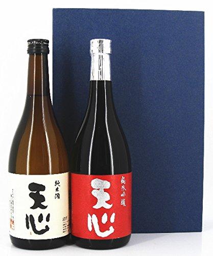 日本酒 父の日ギフトセット (紅白ラベル) 天心 純米吟醸・天心 純米 720ml×2本セット